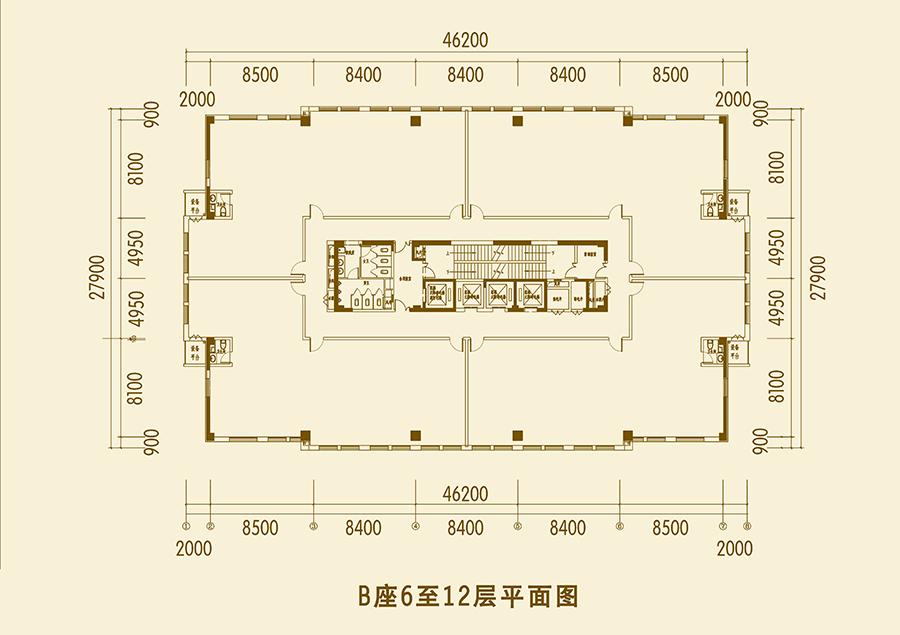 B座6-12层平面图