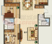 D3户型图四室两厅两卫