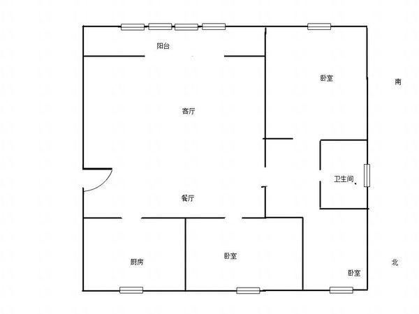 花园路小学 三中北校附近 阿尔卡六期 三居室 全明户型