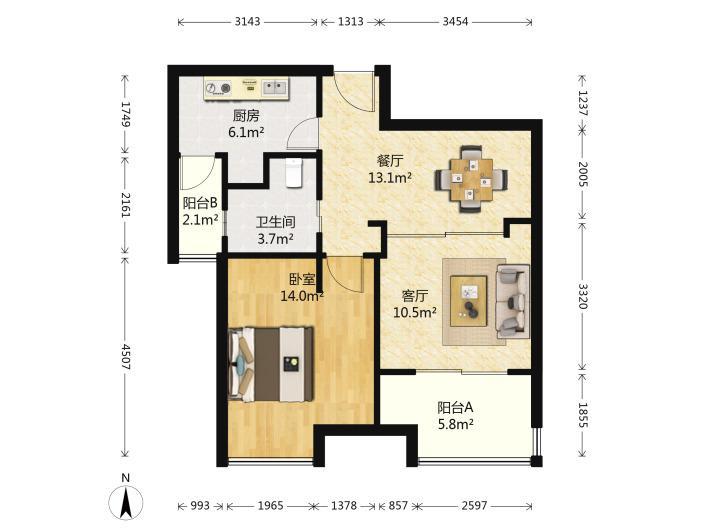 润东花园2室2厅1卫精装电梯房拎包入住