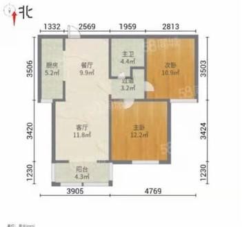 直降2万 二中东临 金柱大学城 两室两厅 精装修 送储藏室